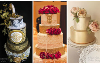 15+ Gorgeous Gold Wedding Cakes with Floral Details
