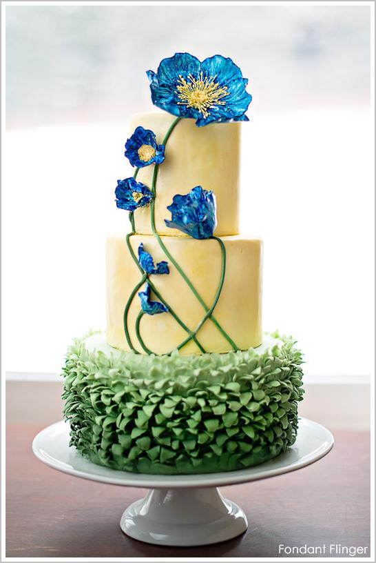 Blue Poppy Flower Cake