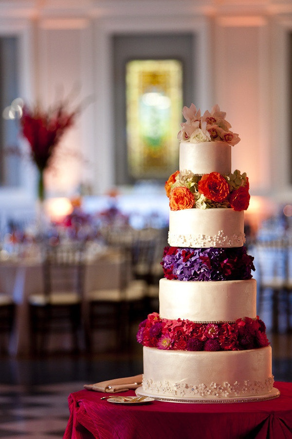 Cake with Jewel Tone Flowers