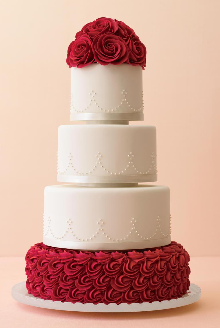 Square Red Rose Wedding Cakes