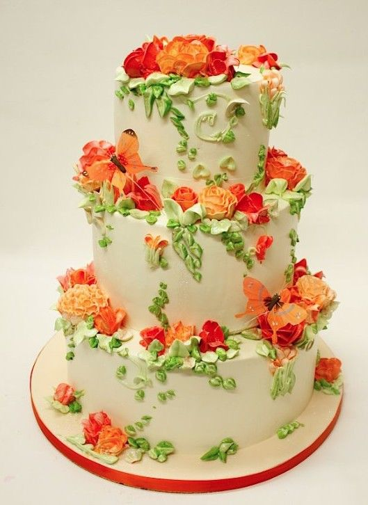 Tangerine Orange and Green Wedding Cake with Orange Butterflies ...