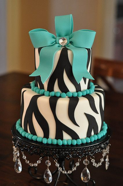 Turquoise and Zebra Party Cake