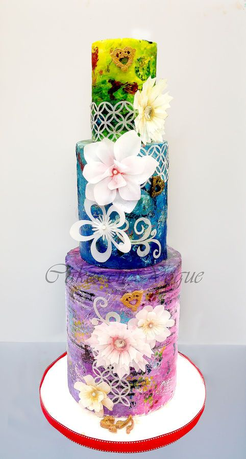 Vintage Theme Cake with Fantasy Flowers