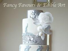 Blue Diamond Ruffle Tall Floral Wedding Cake