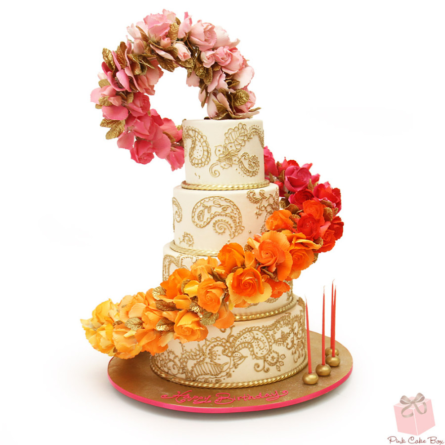 Floating Ombré Floral Cascade Cake with Henna Design