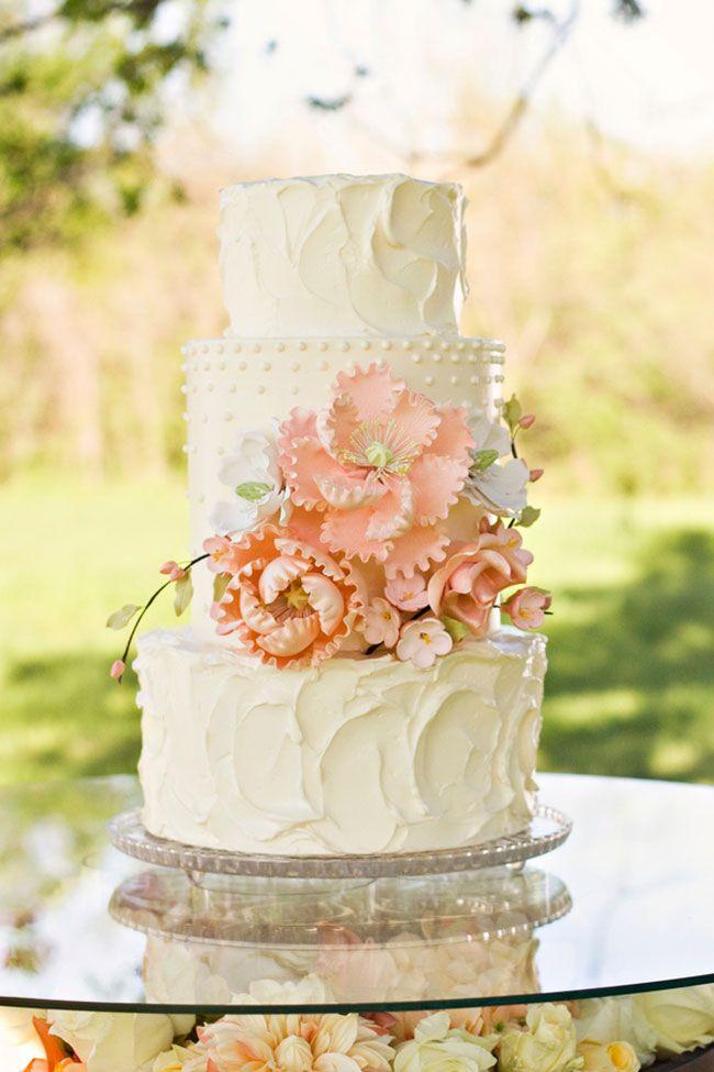 Peach Floral Wedding Cake - Amazing Cake Ideas