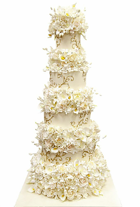 Towering Wedding Cake With Flowers