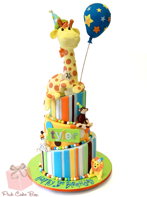 Tylers Topsy Turvy Animal Themed Birthday Cake