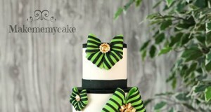 Vivid Green and Black Patterned Tiered Cake