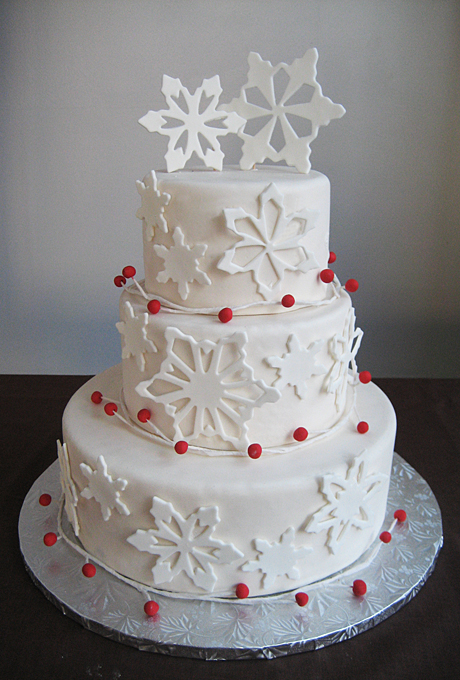 White Wedding Cake With Snowflakes And Red Berries Amazing Cake Ideas