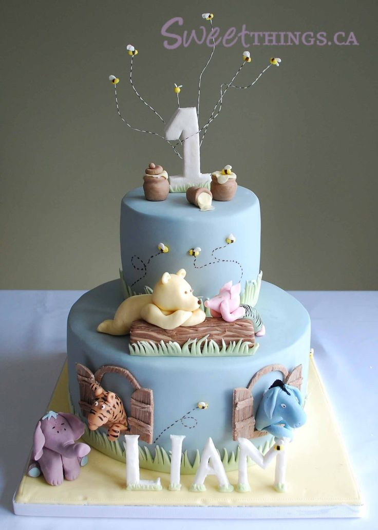 1st Birthday Classic Winnie the Pooh Cake Amazing Cake Ideas
