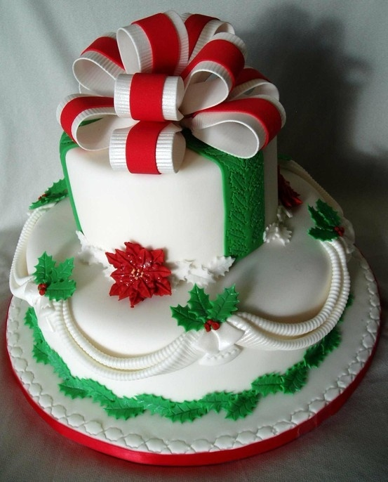 Christmas Cake with nice ribbon