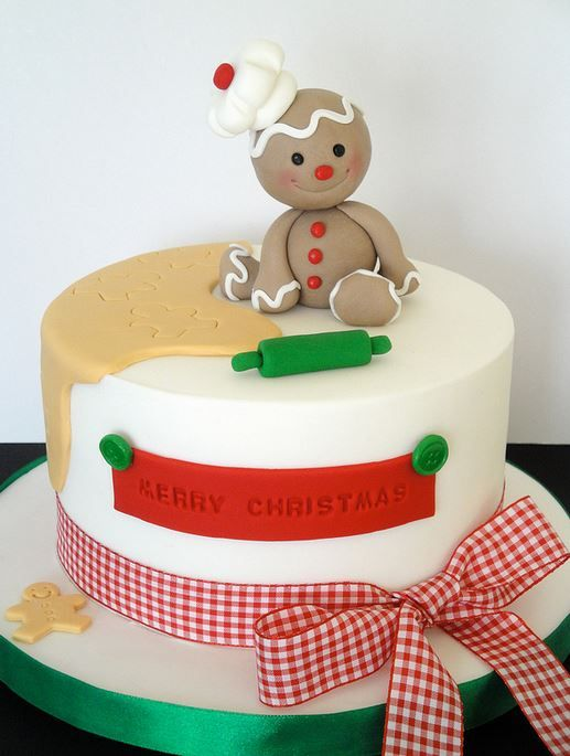 Christmas Cake with very Cute Topper