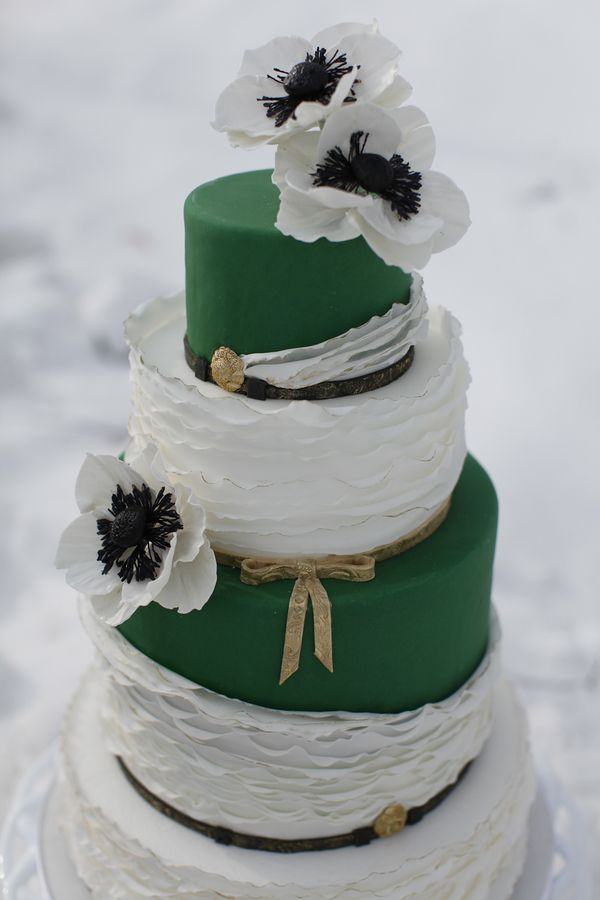Emerald and White Wedding Cake with Anemones