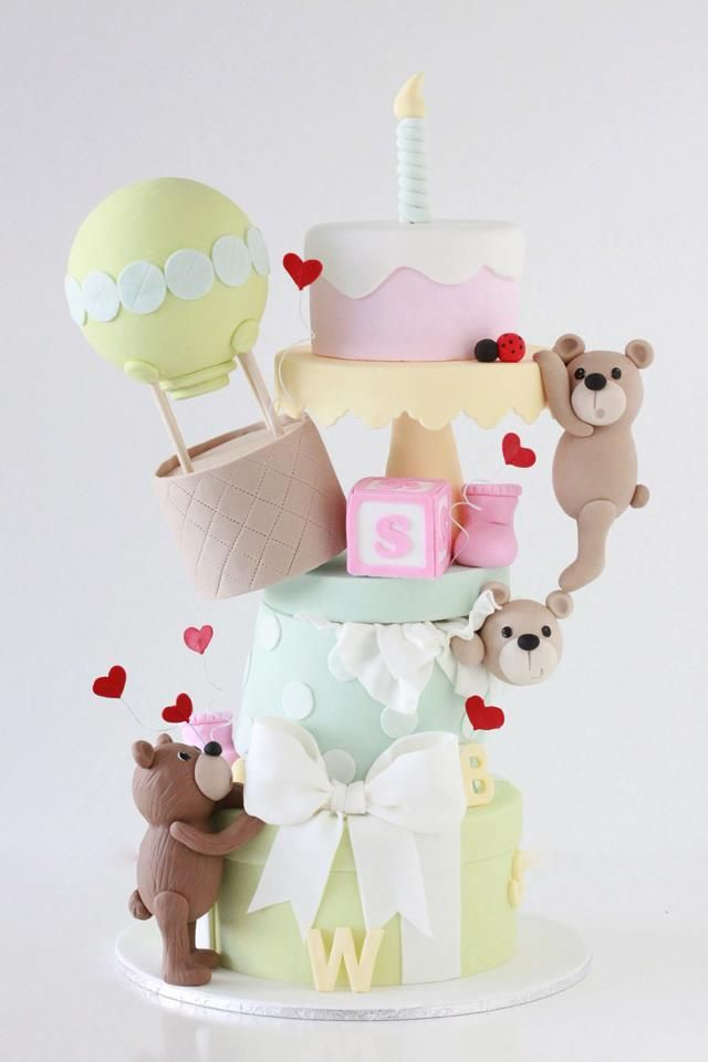 Fun cake for a first birthday or baby shower by Sharon Wee Creations