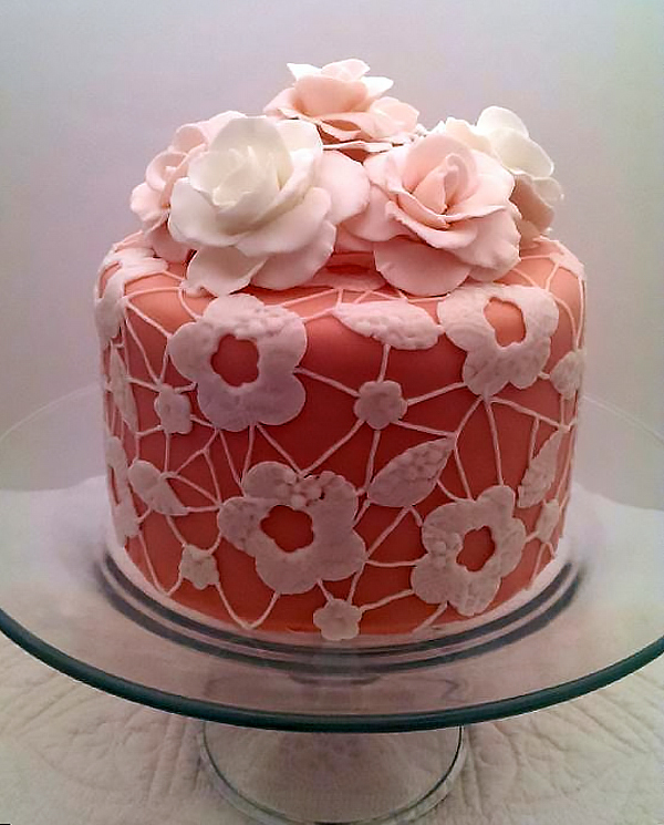 Lace And Floral Tea Party Cake