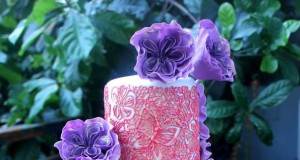 Lavender Ruffled Wedding Cake