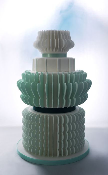 Mint Green and White Tiered Cake