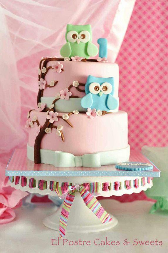 Pastel Pink Owl Themed Birthday Cake
