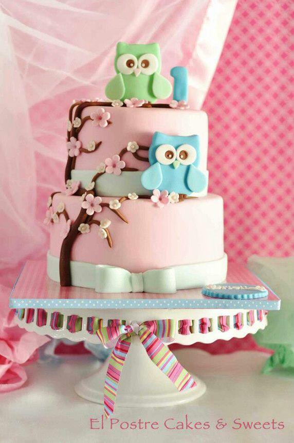 Incredible Pastel Pink Owl Themed Birthday Cake Amazing Cake Ideas Birthday Cards Printable Nowaargucafe Filternl