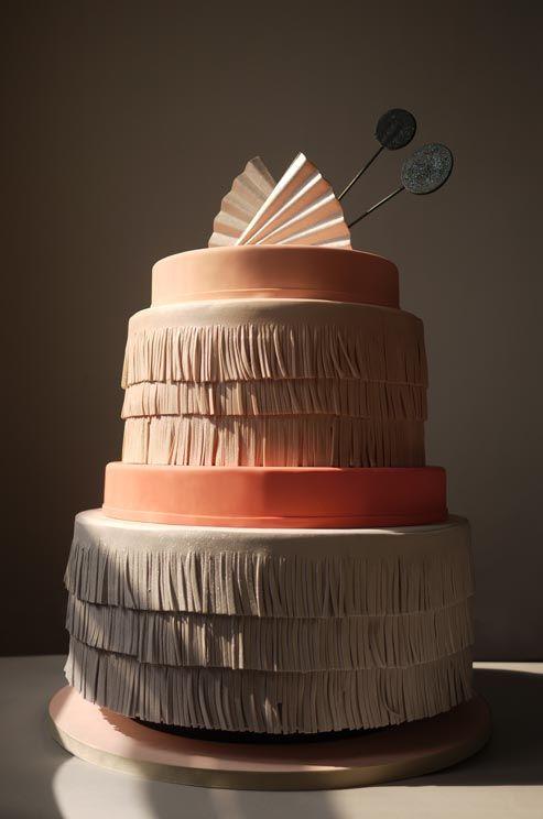 Peach Fringe Wedding Cake