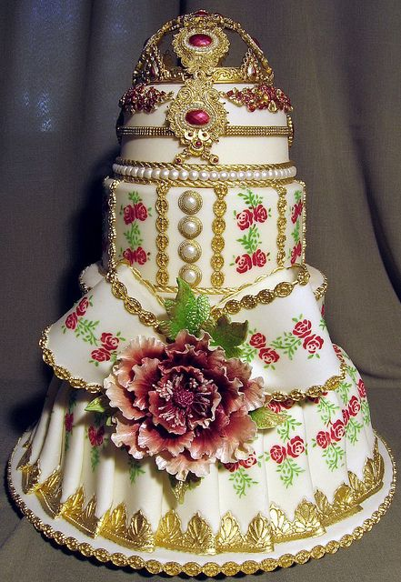 Pink, Gold and White Cake