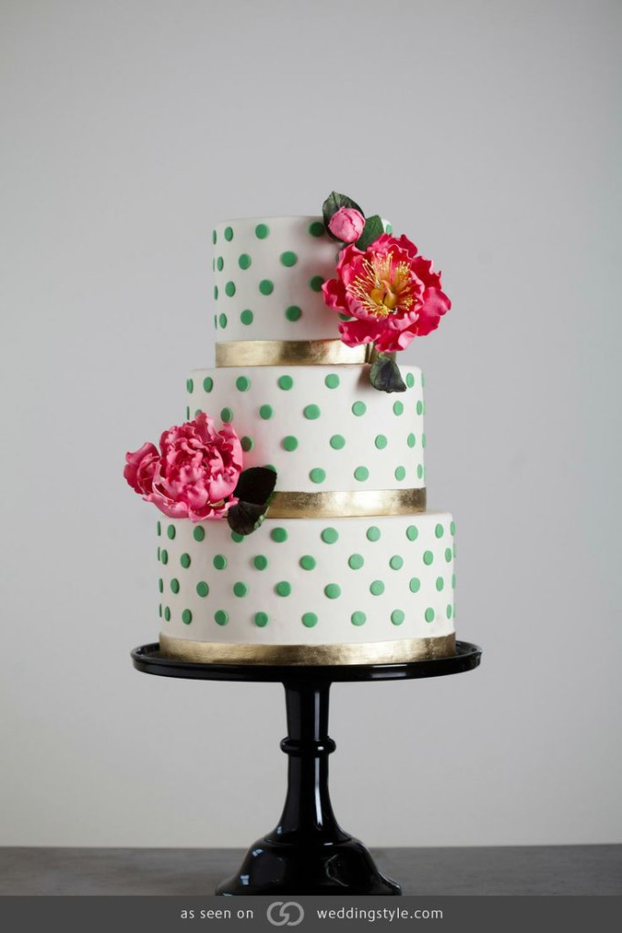 Three-Tered Ivory Cake with Green Swiss Dots and Hand-Sculptured Sugar Peonies