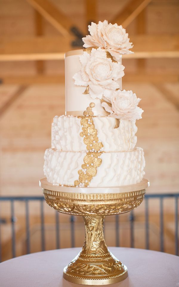 White and Gold Wedding Cake - Amazing Cake Ideas