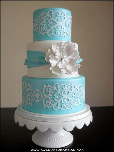 White and Sky Blue Cake Amazing Cake Ideas