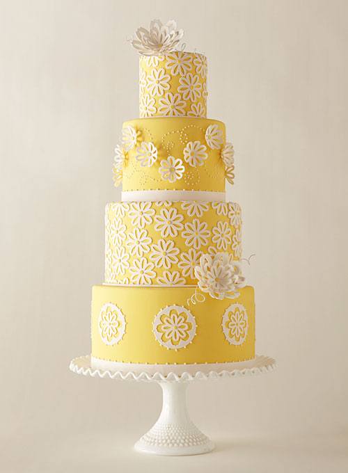 Yellow Wedding Cake with Lace Flowers