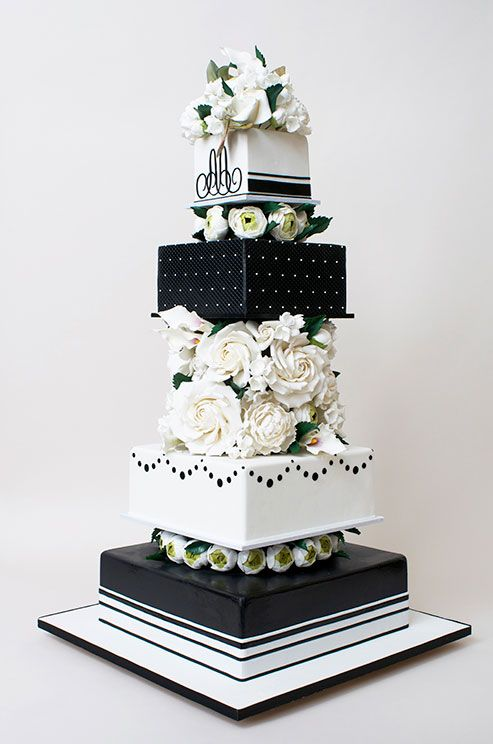 A Black And White Wedding Cake Is A Classic Option For A Formal