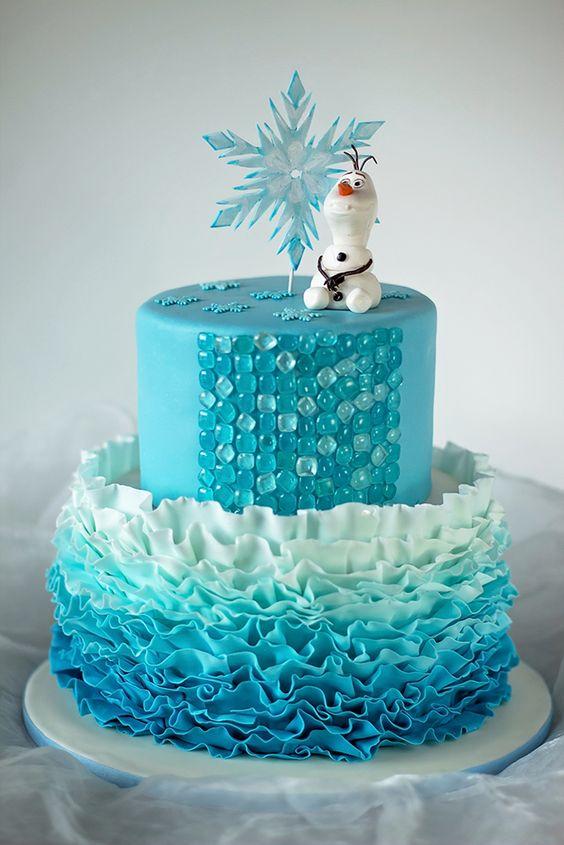 Disney Frozen Cake Ombre Fondant Ruffles Isomalt Sugar Gems