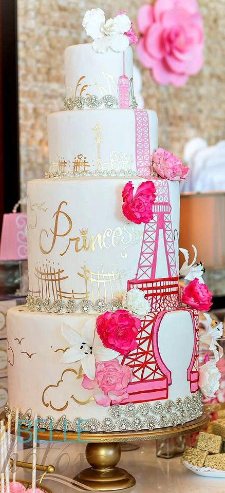 Elegant Pink Gold Parisian Themed Cake Amazing Cake Ideas