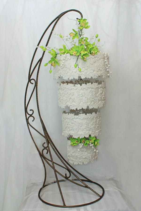 Green Orchids - a Hanging Wedding Cake