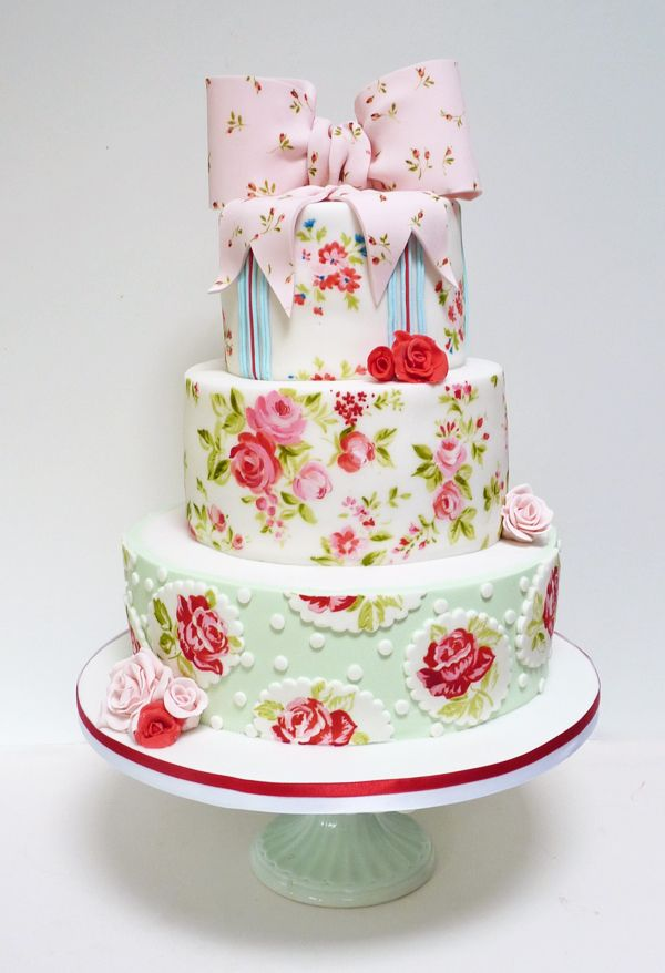 Hand-Painted Vintage Rose Floral Cake