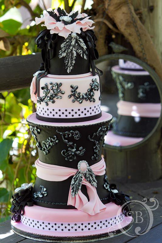 Pastel Pink & Black Elegant Tall Cake