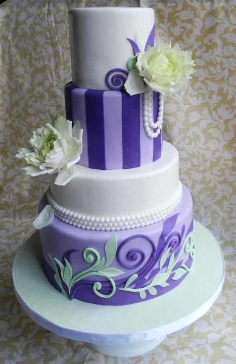 Purple, white and mint green vintage cake