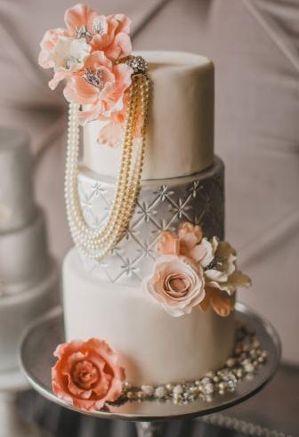 Silver and Ivory Cake with Peach Flowers and Pearls