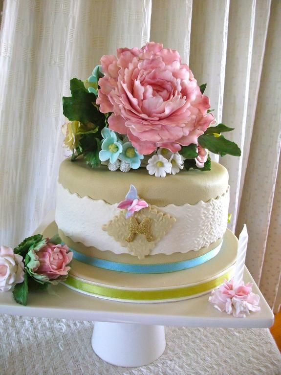 Sugar Flowers Birthday Cake