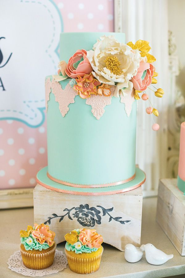 Vintage Floral High Tea Bridal Shower with peony stationary, floral blooms, pastel candy buffet, a vintage photo booth and chalkboard heart name cards!