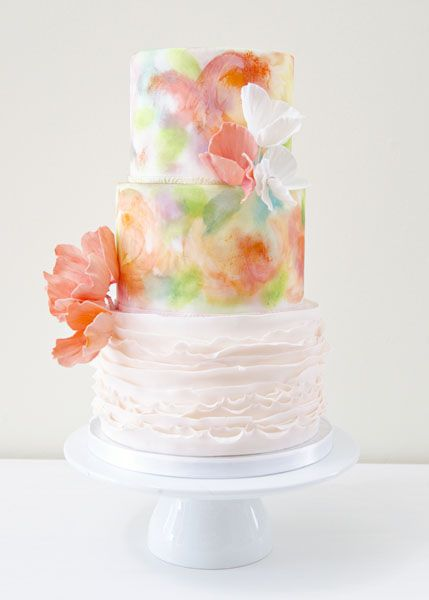 Spring Themed Watercolor Wedding Cakes