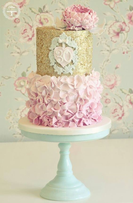 Superb 30Th Birthday Cake With Pink Ruffles And Gold Sparkles By Cotton Personalised Birthday Cards Bromeletsinfo
