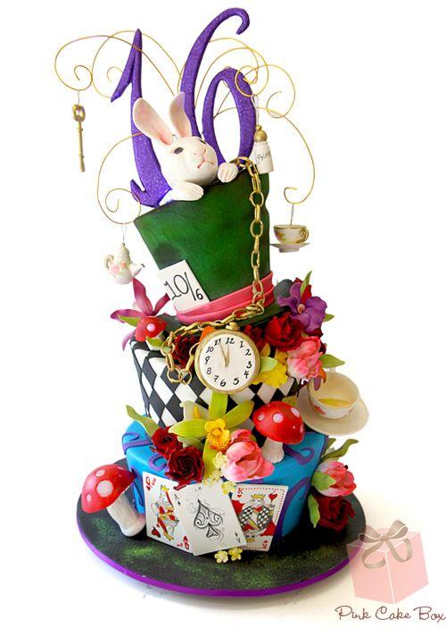 Alice in Wonderland Topsy Turvy Sweet 16 Cake