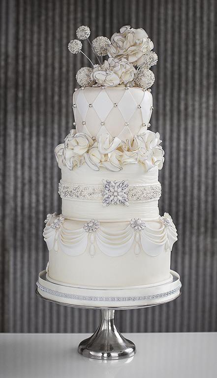Jeweled Wedding Cake by Roseland Bakery