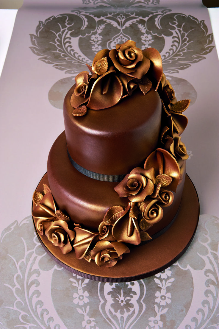 Elegant Chocolate Cake Decorated With Chocolate