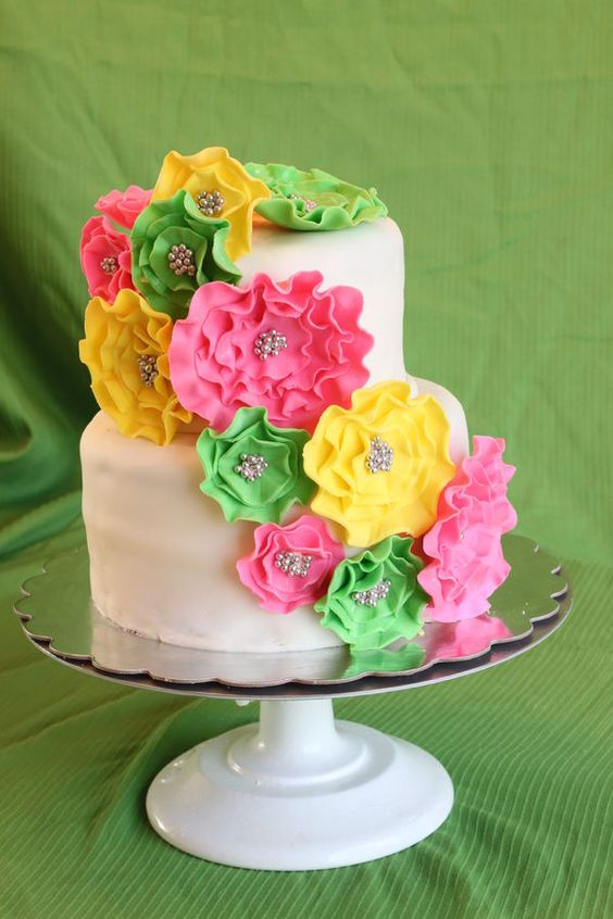 Pink Green And Yellow Baby Shower Cake