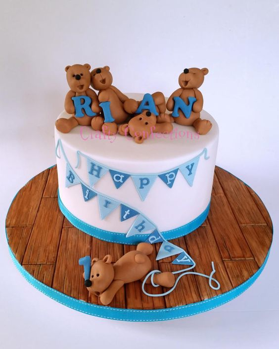 Teddy Bears And Bunting 1st Birthday Cake Cake By Kelly Cope