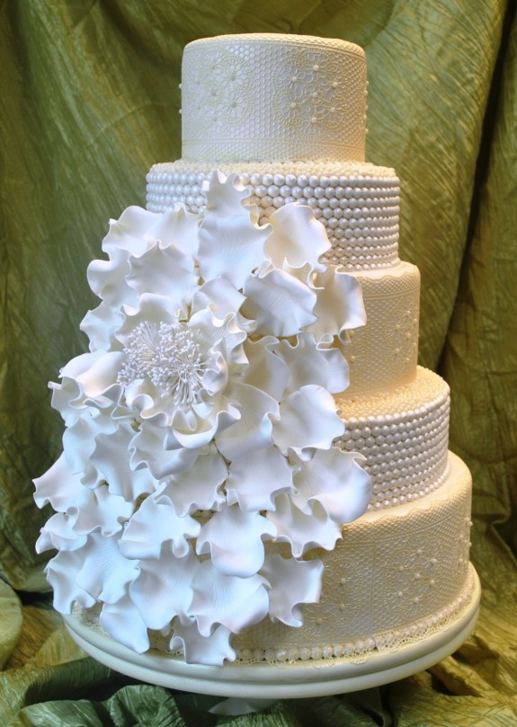 Vintage Wedding Cake with Cascading Floral Petals, Sugar Lace and Pearl