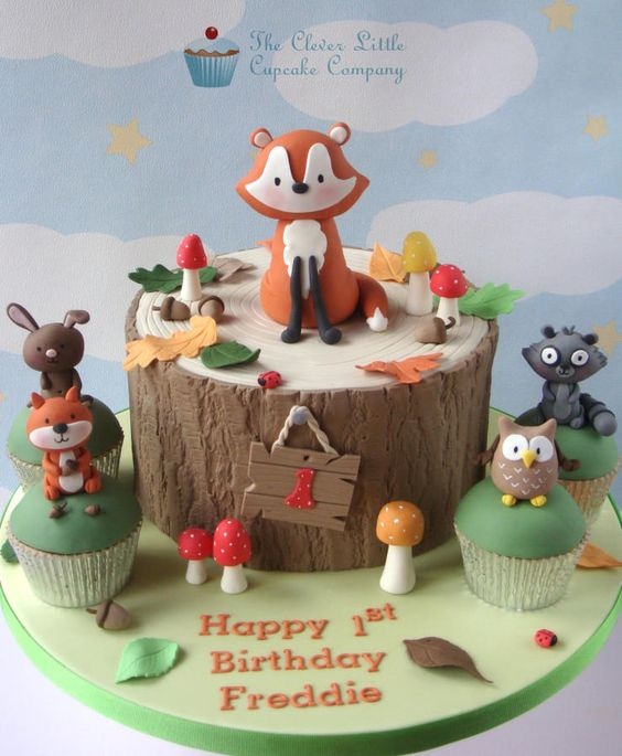 Incredible Woodland Themed 1St Birthday Cake Cake By The Clever Little Birthday Cards Printable Opercafe Filternl