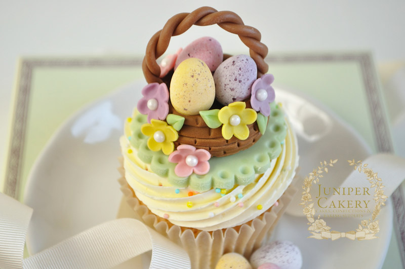 Cute easter basket cupcake by juniper cakery amazing cake ideas cute easter basket cupcake by juniper cakery negle Images